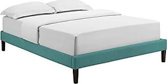 ModWay MOD-5897-TEA Tessie Upholstered Fabric Full Platform Bed Frame with Squared Tapered Legs, Teal