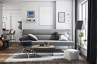Dorel Home Products DHP Katherine Linen Futon, with Chrome Legs and Memory Foam Seat, Grey Linen