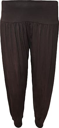 WearAll Ladies Harem Pants Womens Leggings Hareem Trousers - Brown - 12-14
