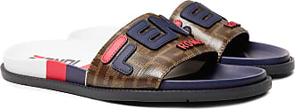Fendi Logo-appliquéd Coated-canvas And Leather Slides - Multi