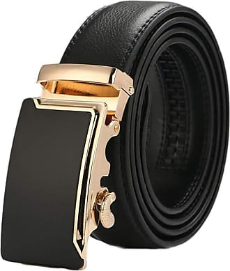 Laisla Fashion Leather Belt MenS Belt MenS Genuine Leather Cow Classic Belt With Ratchet Buckle Automatic Unique Fashion Retro Style Basic Clothing Accessories (Colo