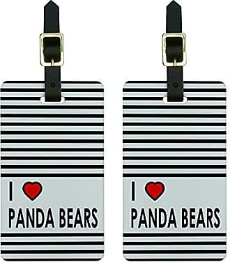Graphics & More Graphics & More I Love Heart Panda Bears Luggage Tags Suitcase Carry-on Id, White