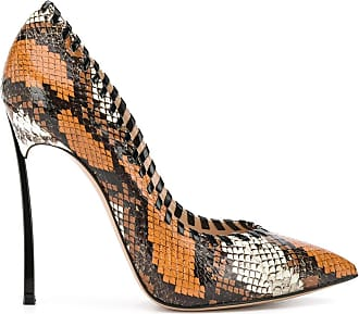 Casadei Blade snake-effect woven 115mm pumps - Brown
