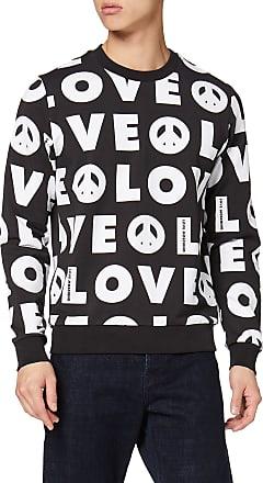 Love Moschino Long Sleeve Sweatshirt/_Heart And Logo Iridescent Silver Print Felpa Donna