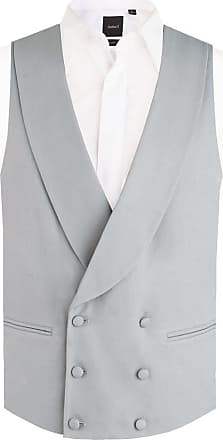 Dobell Mens Dove Grey Morning Suit Wedding Waistcoat Regular Fit Shawl Lapel Double Breasted-XL (46-48in)