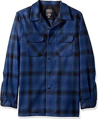 Pendleton Mens Fitted Long Sleeve Board Shirt, Blue/Black Ombre-31951, LG