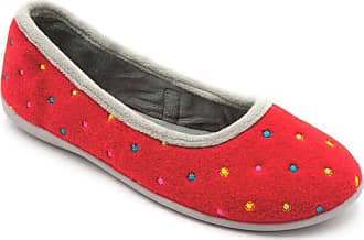 Padders Ballerina Ladies Felt Wide (E Fit) Slippers Red Combi UK 8