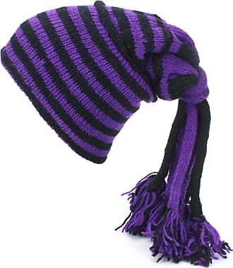 Loud Elephant Wool Knit Fountain Tassels Beanie Hat with Fleece Lining - Purple & Black