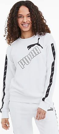 Puma Amplified Crew Neck Womens Sweatshirt, White, size X Large, Clothing