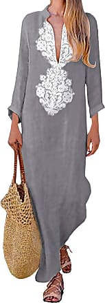 TOMWELL Women Vintage Loose Striped Deep V Neck Long Sleeve Casual Kaftan Boho Maxi Cotton Linen Dresses Grey UK 16