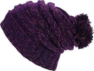 Loud Elephant Acrylic Knit Baggy Beanie Bobble Hat - Purple