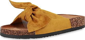 Scarpe Vita Women Sandals Mules Ribbons Cork Look 190569 Yellow UK 4 EU 37
