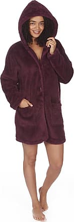 Forever Dreaming Ladies Womens Snuggle Fleece Coatigan Cardigan Long House Coat Burgundy