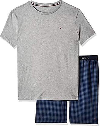 Tommy Hilfiger Cn SS Short Woven Set Pantalones de Pijama para Hombre