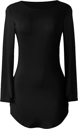 QIYUN.Z Womens Sexy Long Sleeve Irregular Hem Party Dress Ladies Solid Color Slim Bodycon Mini Dress