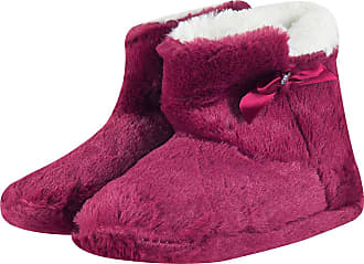 MySocks Ladies Slippers Fuchsia Fur with Bow