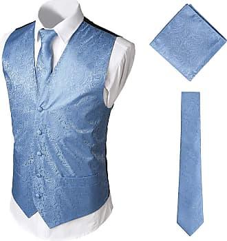 Whatlees Mens Classic Paisley Floral Jacquard Vest & Tie and Pocket Square Vest Suit Set BA0213-Blue-XXL