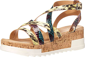 Yoki Womens BRENDA-55 Wedge Sandal, Snake, 5.5 UK