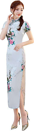 Zhuhaixmy Chinese Style Qipao for Women, Long Dress Plus Size Cheongsam Evening Dress Qipao for Wedding White