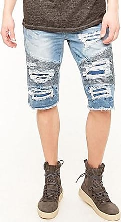21 Men Jordan Craig Distressed Moto Jean Shorts at Forever 21 Medium Denim