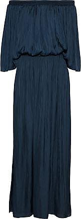 Halston Heritage Halston Heritage Woman Off-the-shoulder Shirred Charmeuse Maxi Dress Storm Blue Size XS