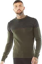 Brave Soul fine knit crew neck jumper with chest panel detailing