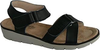 Cushion-Walk Leather Womens Sandals Open Toe Cross Over Touch Fasten UK 3-8 (3 UK, Black)