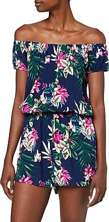 Urban Classics Womens Jumpsuit Ladies AOP Off Shoulder Short Einteiler Dress Pants, Blue Flower, M