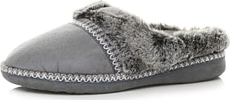 Ajvani Womens Ladies Grip Sole Comfort Winter Fur Lined Mules Slippers Scuffs Size 4 37