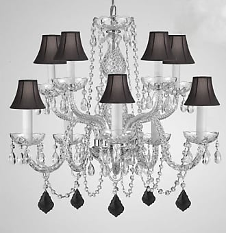 Gallery T22-2795 10 Light 24 Wide Chandelier with Black Fabric Shades