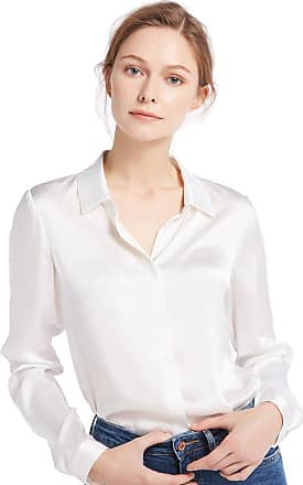 LilySilk Womens Charmeuse Silk Blouse Long Sleeve Ladies Top Shirt 100% Pure 22 Momme Silk (S/10, Natural White)
