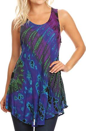 Sakkas 18805 - Natalia Womens Summer Sleeveless Tie Dye Flare Tank Top Tunic Blouse - Purple - OS