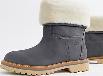 Timberland Charmonix Gargoyle Gray Leather Pull On Ankle Boots With Shearling Fold Down - Gray