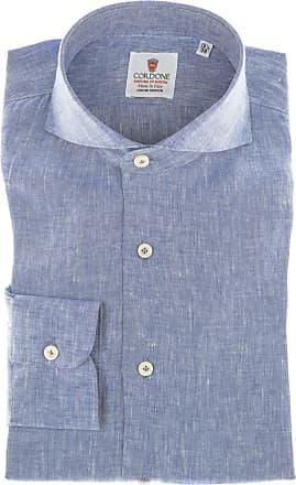 Cordone 1956 Camicia sartoriale Mod. Blu Linen Shirts - Tessuto lino - Colore blu - Taglia 36