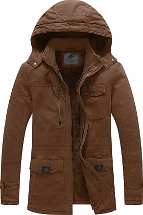 WenVen Mens Thicken Fleece Parka Jacket with Removable Hood Brown Medium