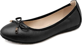Daytwork Shoes Women Ballet Flats - Pumps Round Toe Bow Classic Prom Slip on Comfort Loafers Dress Boat Shoes Black