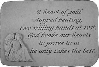 Kay Berry A Heart Of Gold Stopped Beating Memorial Stone - Angel Design - 22820