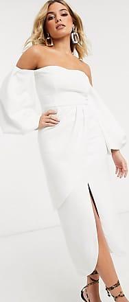 Yaura balloon sleeve midi dress with split in white