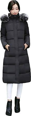 FNKDOR MRULIC Newest Women Outerwear Button Coat Long Quilted Cotton-Padded Jackets Pocket Fur Hooded Coats Sweatshirt Black