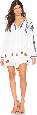 Free People Wild Horses Embroidered Mini Dress in White