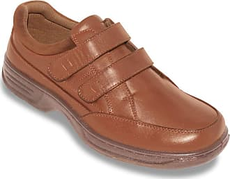 Cushion-Walk Mens Wide Fit Shoes Twin Touch Fasten with Gel Pad Tan 10 UK