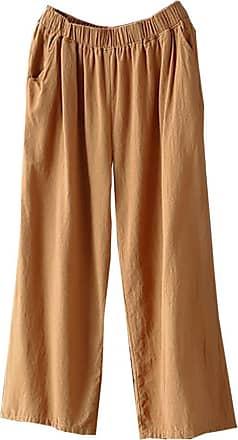 JERFER Fashion Women Palazzo High Waist Wide Leg Culottes Cotton Linen Trousers Loose Pants Causal Daily Trousers Khaki