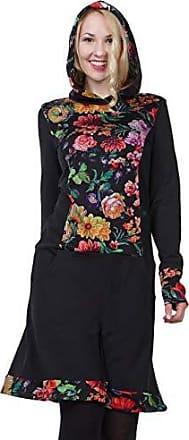 Damen Tunika Longshirt Mini Langarm Kleid Shirt mit Kapuze Kapuzenkleid S M L XL