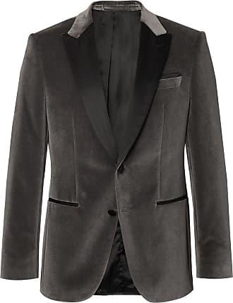 HUGO BOSS Anthracite Helward Slim-fit Satin-trimmed Cotton-velvet Tuxedo Jacket - Gray