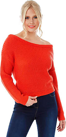 Roman Originals Women Lounge Bardot Jumper - Ladies Casual Everyday Chunky Knitwear Long Sleeve Off The Shoulder Young Fashion Trendy Knitted Jumpers - Orange - Size
