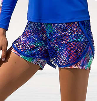 Luli Fama Womens Fishnet Overlay Shorts, Multi, M