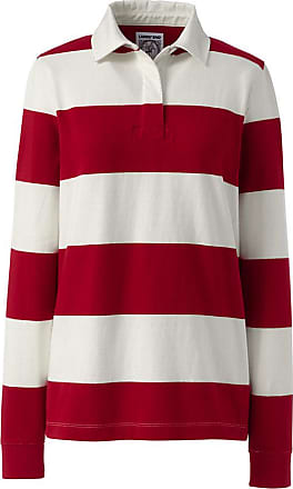 Lands End Womens Plus Size Long Sleeve Polo Rugby Shirt Stripe