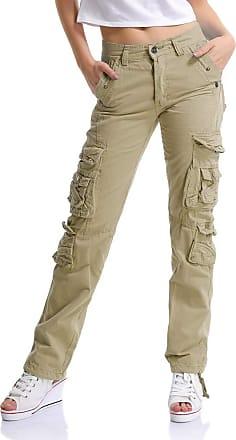 OCHENTA Womens Combat Casual Cargo Eight Pocket Army Military Trousers Khaki Lable 31-UK 10