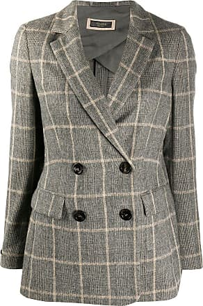 PESERICO double-breasted check blazer - Cinza