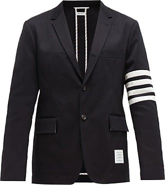 Thom Browne Striped Single-breasted Cotton-twill Blazer - Mens - Navy